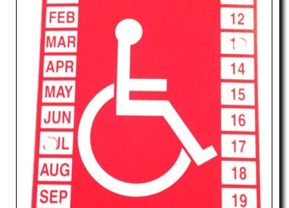 Temporary Handicap Parking Placard